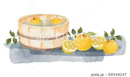 柚子と風呂桶の水彩画 69549247