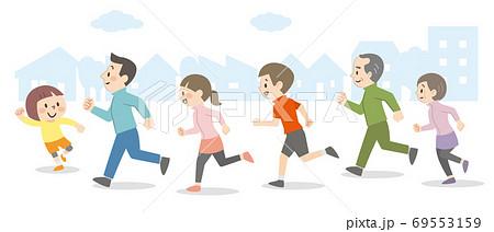 屋外を走る人々 69553159