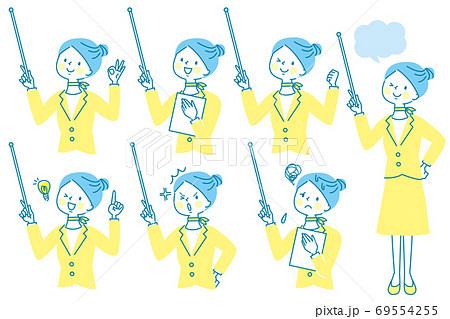 支持棒を持って説明するスーツ姿の女性 表情セット 69554255