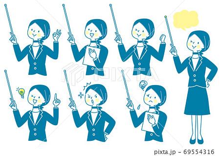 支持棒を持って説明するスーツ姿の女性 表情セット 69554316