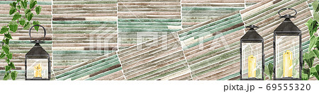 瓦タイルの壁とランタンの背景イラスト 69555320
