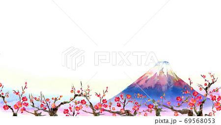 水彩で手描きした富士山と梅の背景イラスト 69568053