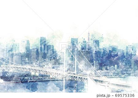 お台場から見た都市風景 69575336