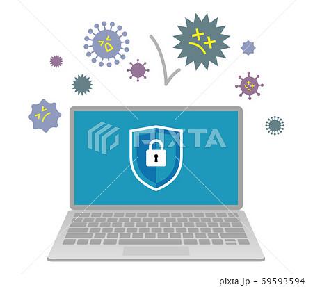 セキュリティに守られているパソコンのイラストイメージ 69593594