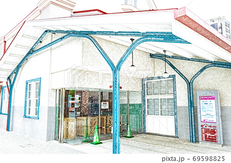 【駅風景】関東の駅百選のJR国立駅の旧駅舎【色鉛筆】 69598825