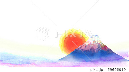 水彩で手描きした富士山と日の出の背景イラスト 69606019