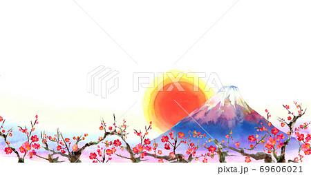 水彩で手描きした富士山と梅の背景イラスト 69606021