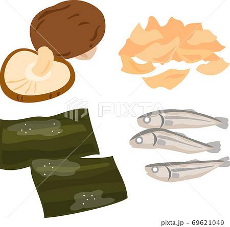 出汁の食材(干しシイタケ、昆布、鰹節、煮干し) 69621049