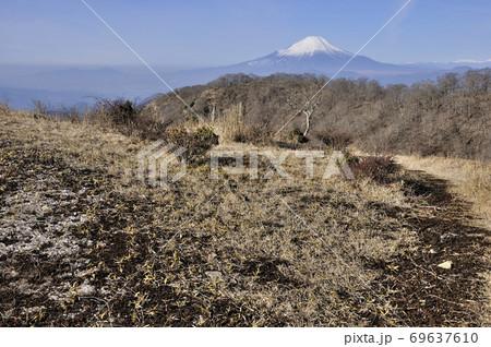 冬晴れの丹沢山地 塔ノ岳から望む富士山 69637610