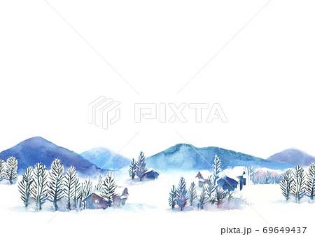 水彩で描いた雪景色のイラスト 69649437