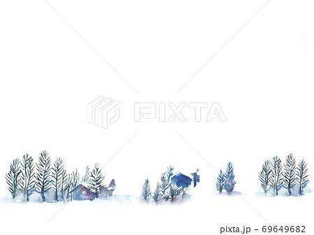 水彩で描いた雪景色のイラスト 69649682