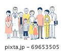 家族と医療従事者 集合 全身 69653505