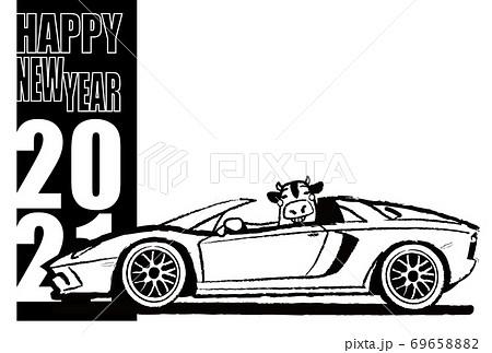 2021年年賀状 テンプレート 牛とイタリアンスポーツカー ぬり絵風 69658882