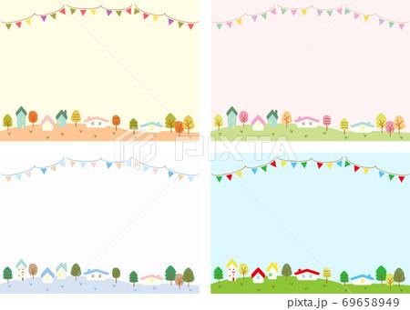 四季の街並み、自然の風景のイラストセット 69658949