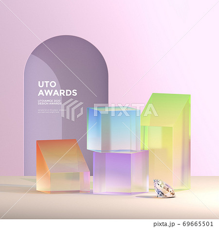 Glass Objects, 3D rendering surreal composition 012 69665501