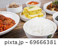 Delicious Korean food, a collection of various Korean dishes 297 69666381