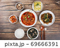 Delicious Korean food, a collection of various Korean dishes 294 69666391