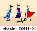Modern lifestyle of Korean traditional cloth wearing people, retro style illustration 008 69666408