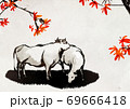 New year 2021, year of the ox ink painting illustration 009 69666418