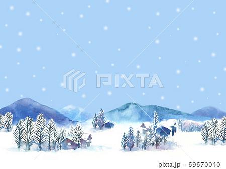 水彩で描いた雪景色のイラスト 69670040