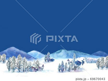 水彩で描いた雪景色のイラスト 69670043