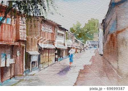 金沢ひがし茶屋街町並みの水彩画風景画 69699387