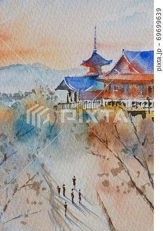 京都 清水寺 水彩画風景画 69699639