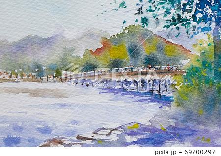 京都 渡月橋 水彩画風景画 69700297