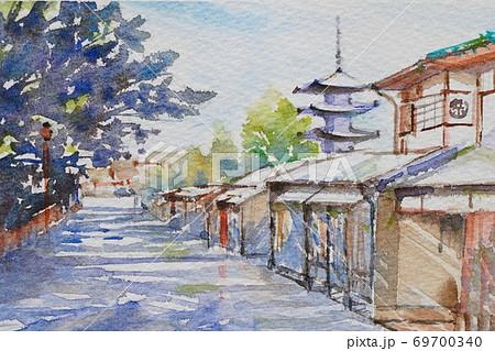 京都 町並み 水彩画風景画 69700340