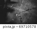 Image of old scratched surface texture in black and white colors 69710578