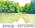 【都立公園】小山内裏公園 水辺の広場 大田切池 テラスからの眺め【色鉛筆】 69722660