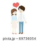 仲の良いカップルとハートのイラスト 69736054