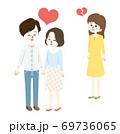 ラブラブなカップルと失恋する女性のイラスト 69736065