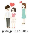 仲良しカップルと失恋する女性のイラスト 69736067