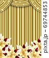 幕とポインセチアのクリスマス背景金色タテ 69744853