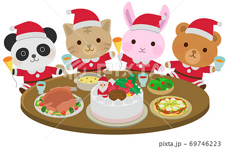 クリスマスパーティをする動物たち ごちそう イラスト 69746223