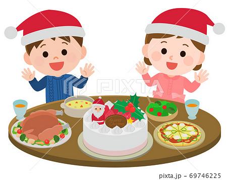 クリスマスパーティをする子供 ごちそう イラスト 69746225