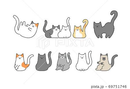 様々な猫のシンプルでおしゃれなイラスト 69751746