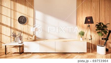 zen modern empty room,minimal design japanese style. 3d rendering 69753964