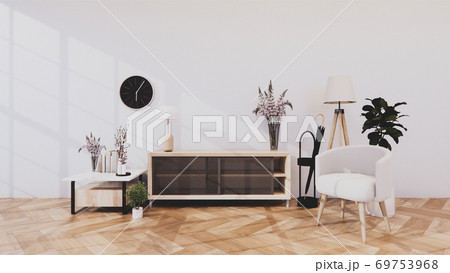 cabinet in modern room and white wall on woon floor japanese style. 3d rendering 69753968