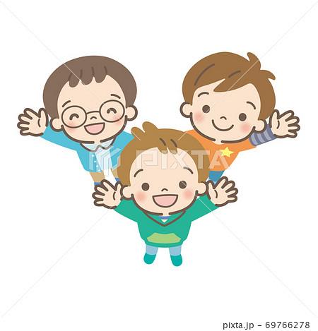 boys gathering and waving 69766278