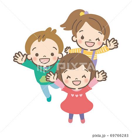 Children gathering and waving 69766283