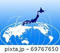 ビジネス背景 日本地図 世界地図 ビジネスイメージ グローバル  69767650