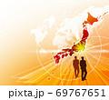 ビジネス背景 日本地図 世界地図 ビジネスイメージ グローバル  69767651