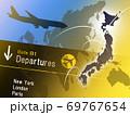 ビジネス背景 日本地図 世界地図 エアーポート ビジネスイメージ グローバル  69767654