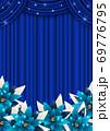 幕とポインセチアのクリスマス背景青タテ 69776795