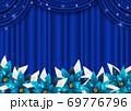 幕とポインセチアのクリスマス背景青ヨコ 69776796