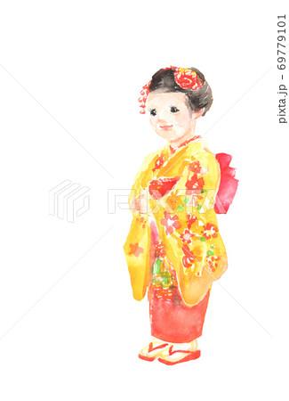 七五三で着物を着た女の子のイラスト 69779101