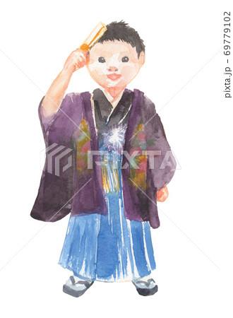 七五三で着物を着た男の子のイラスト 69779102