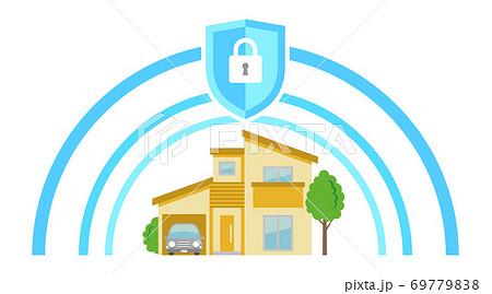 ホームセキュリティーにて守られているシニアのイラストイメージ 69779838